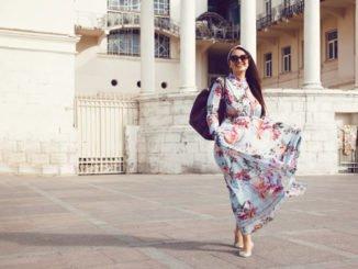Frau mollig Kleid