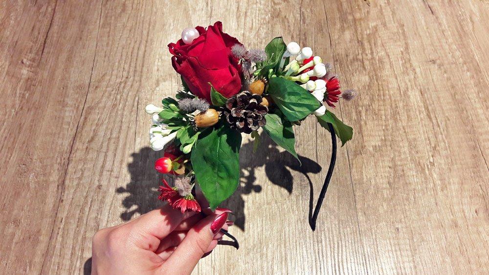 Blumen-Haarreif für den Winter