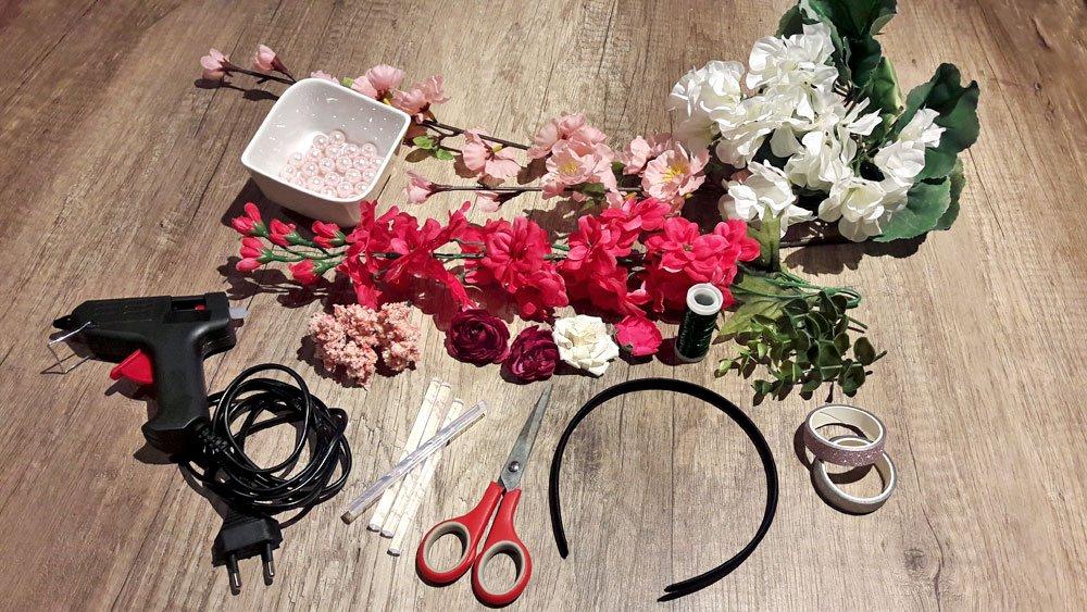 Blumen-Haarreif Material