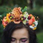 Blumen-Haarreif in orange