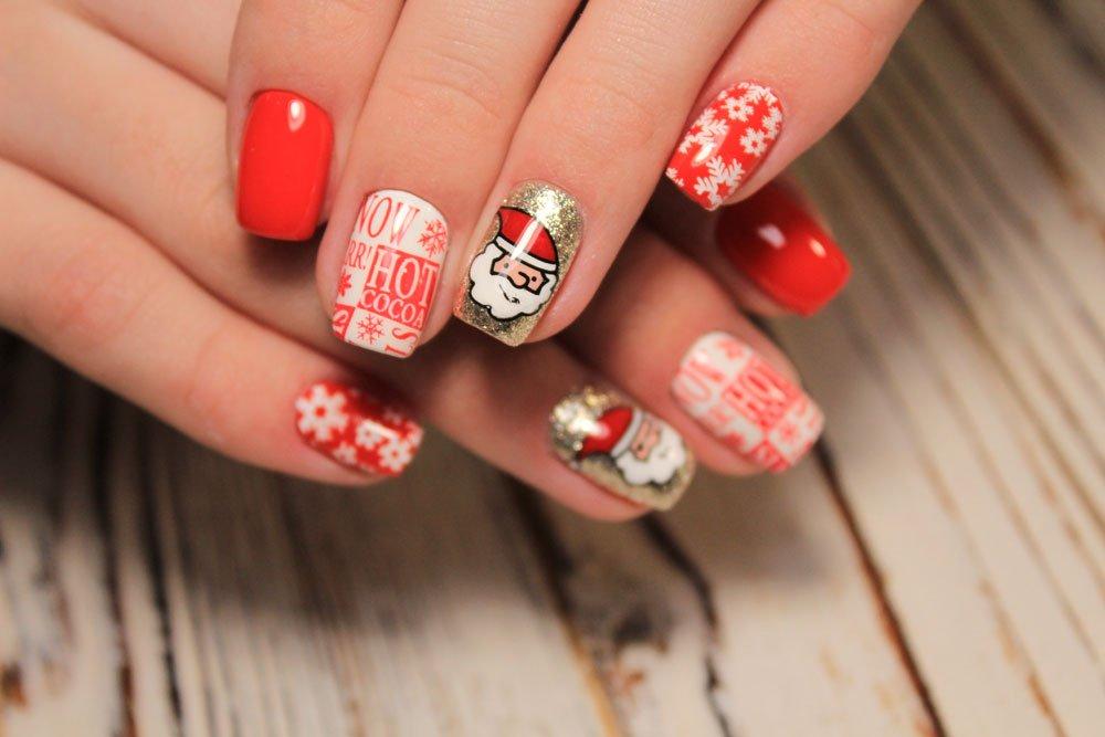 weihnachtliche Nägel mit Stickern