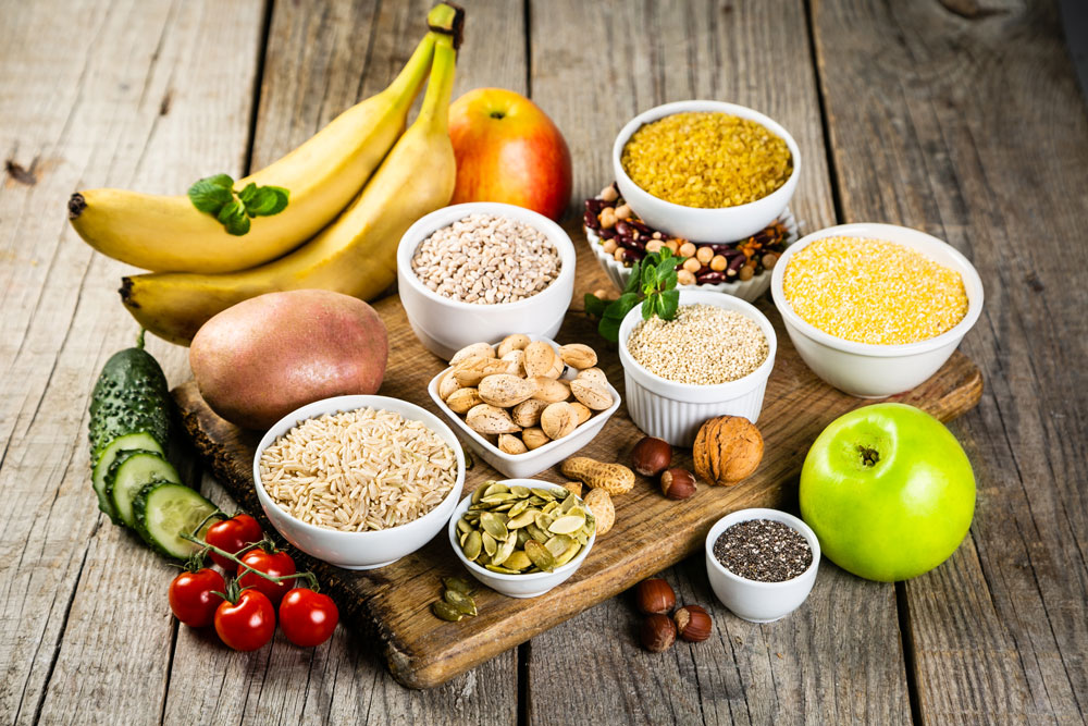 Lebensmittel mit gesunden Kohlenhydraten